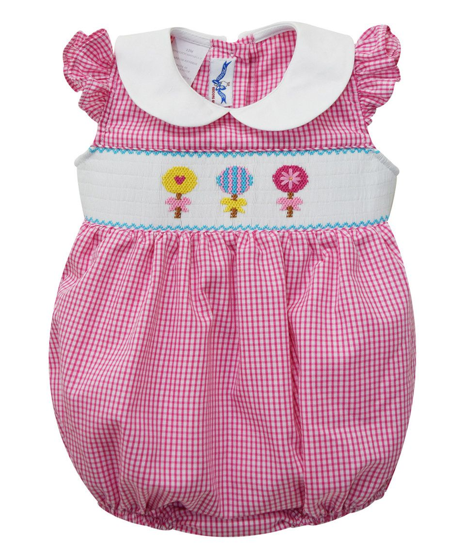 Loving this Silly Goose Pink Lollipop Smocked Bubble Bodysuit - Infant on #zulily! #zulilyfinds