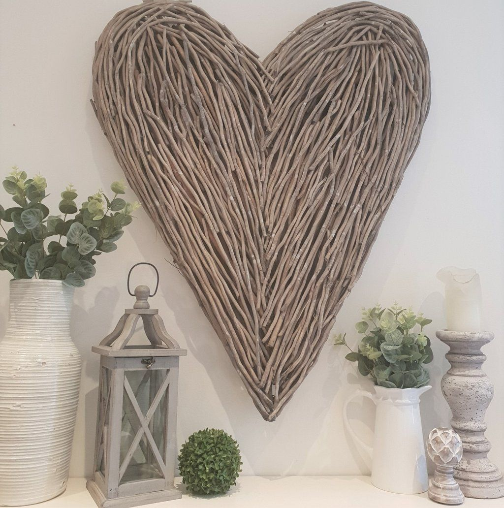 Extra large wicker wood heart twig wall art wicker willow heart