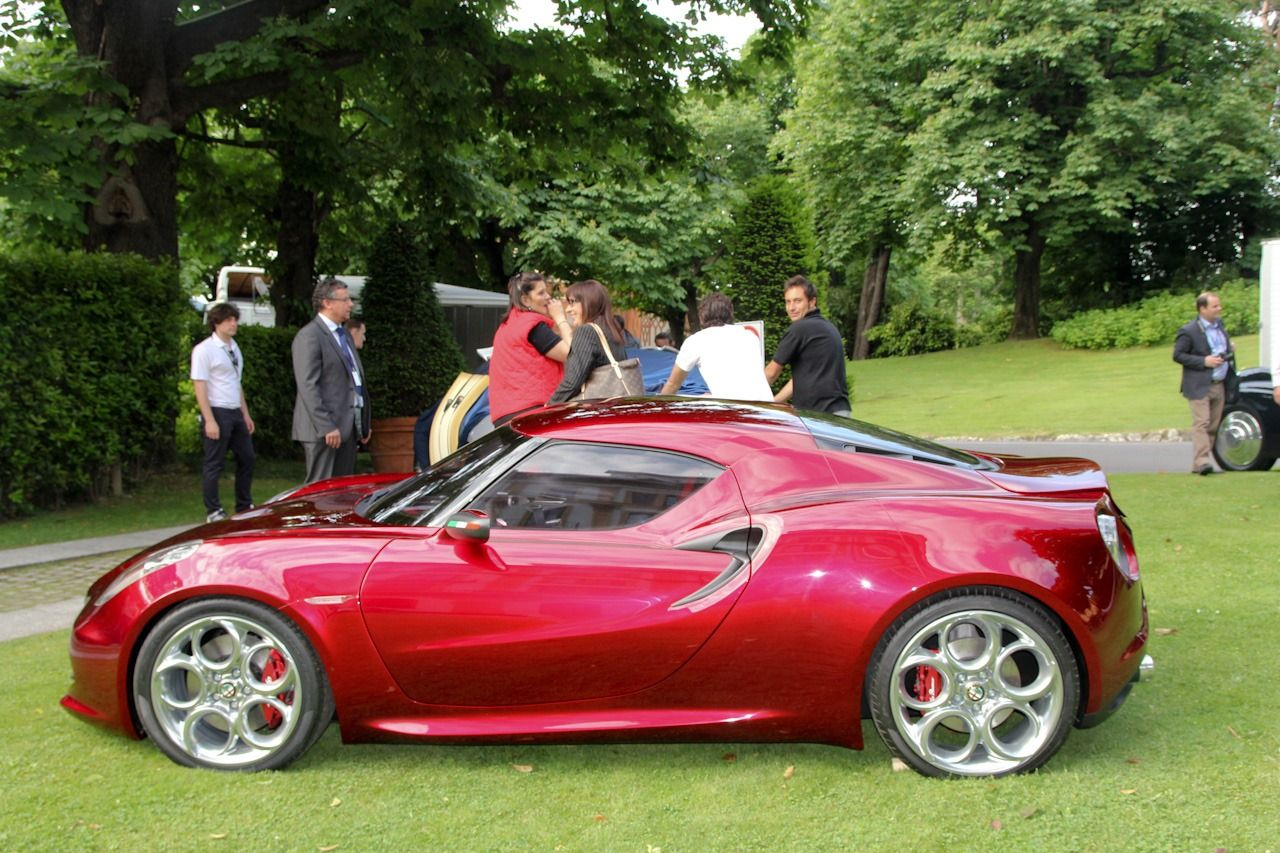 alfa romeo 4c appears in a cherry red shade at concorso d'eleganza alfa romeo 4 door alfa romeo 4c appears in a cherry red shade at concorso d'eleganza, wins concept car category carscoop