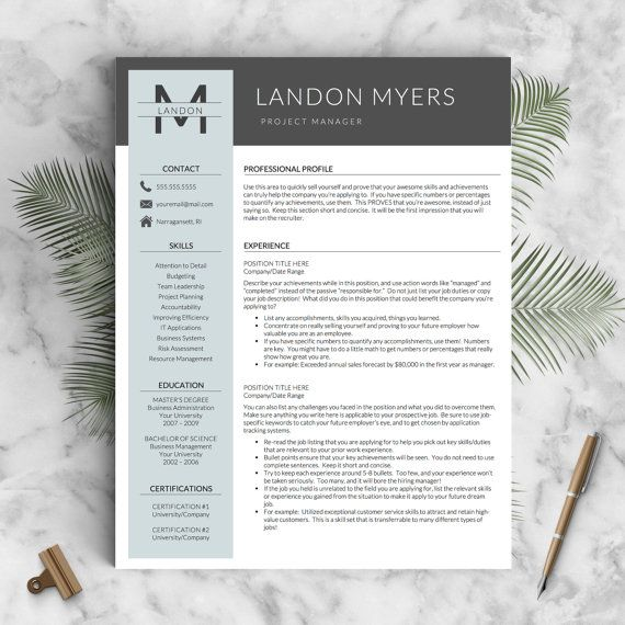 Modern Resume Template for Word and Pages (1, 2  3 Page Resumes + - Modern Resume Templates