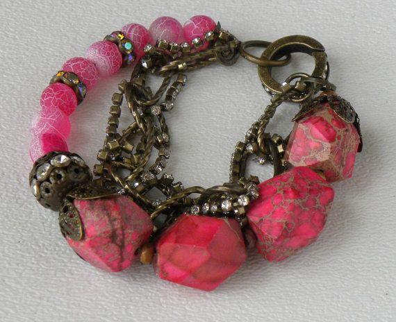 Ruby Variscite Matte Agate Gemstone by bdzzledbeadedjewelry, $31.00