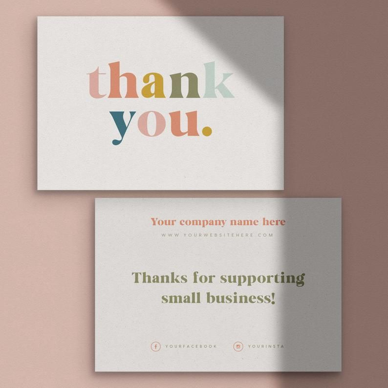 Thank You For Your Order Cards Business Stationery Business Card Thank You Card Business Branding Complementary Slip Note Card Packaging Ideas Business Business Stationery Thank You Card Design