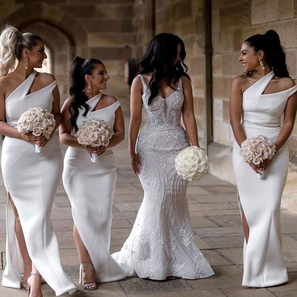 White Bridesmaid Dresses For Weddings 2021 Mermaid One Shoulder Cheap Custom Wedding Guest Dresses Embroidered Lace Wedding Dress Etsy Wedding Dress White Bridesmaid [ 1000 x 1000 Pixel ]