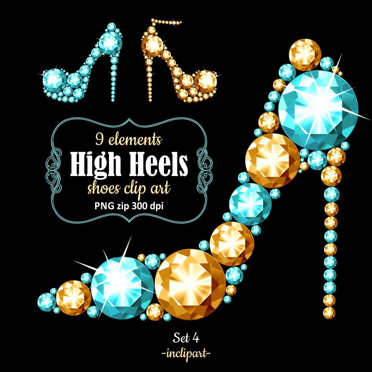 High Heel Shoes Clipart Png Format Gold Turquoise Diamond Rhinestone Shoe Clip Art Ladies Party Clipart Instant Download Business Use Shoes Clipart Rhinestone Shoes Clip Art