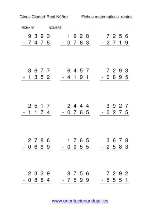 RESTAS 4 CIFRAS-2 | Matemáticas | Pinterest | Números, Llevamos y ...