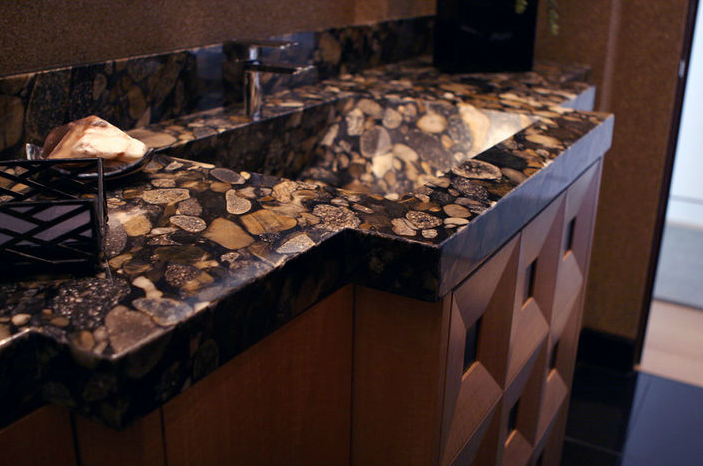 Superb Granite In Black Mosaic From Stonemart Was Used For This Bathroom Countertop.  #housetrends Https