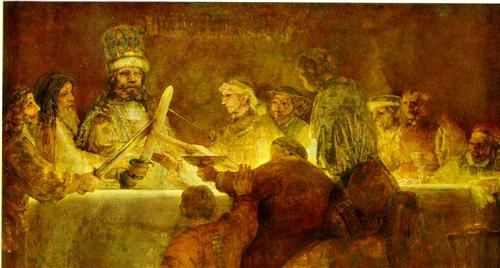 """The Conspiracy of Claudius Civilis - Rembrandt. // So, today my obsession is the fact that the TABLE in Rembrandt's """"The Conspiracy of Claudius (or Julius) Civilis"""" is glowing mind-blowingly graceful. How is that even possible?"""