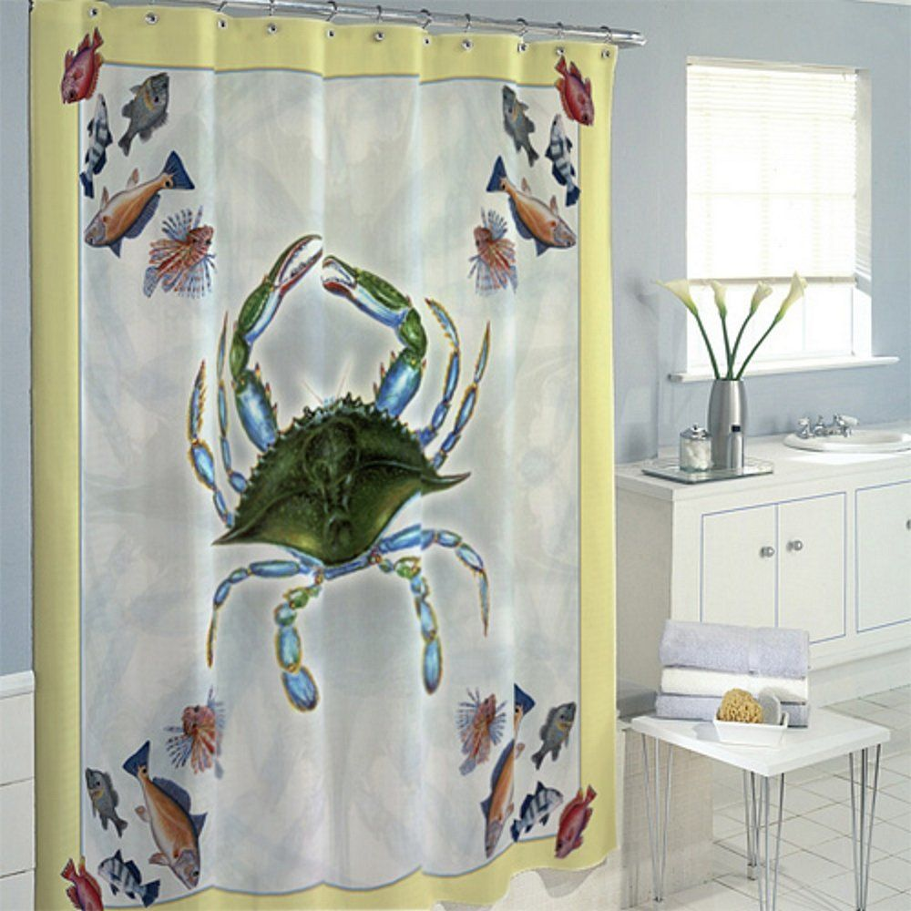 Crab And Fish Shower Curtain Curtains Shower Bath Decor