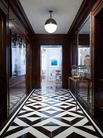 Elegant Foyer Tiles : Classy and elegant black white floors flooring