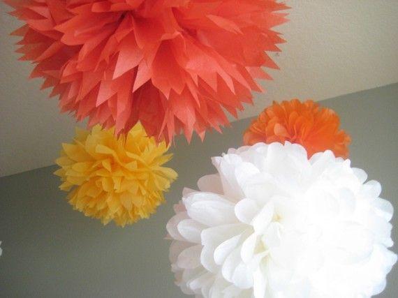 Custom 10 Tissue Papered Pom Poms - Flower Kit Decoration Party DIY - Dance Floor Chandelier. $35.00, via Etsy.