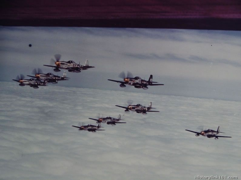 """Yellow-nosed North American P-51's """"forming up"""" as they climb for altitude. England"""