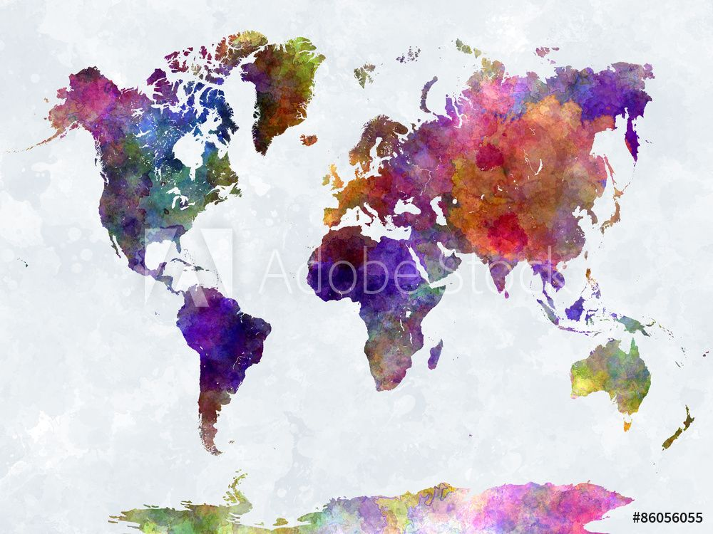 Fotografering Billede World Map In Watercolorpurple And Blue Pa Europosters Dk In 2020 World Map Canvas Water Color World Map Wall Art Canvas Prints