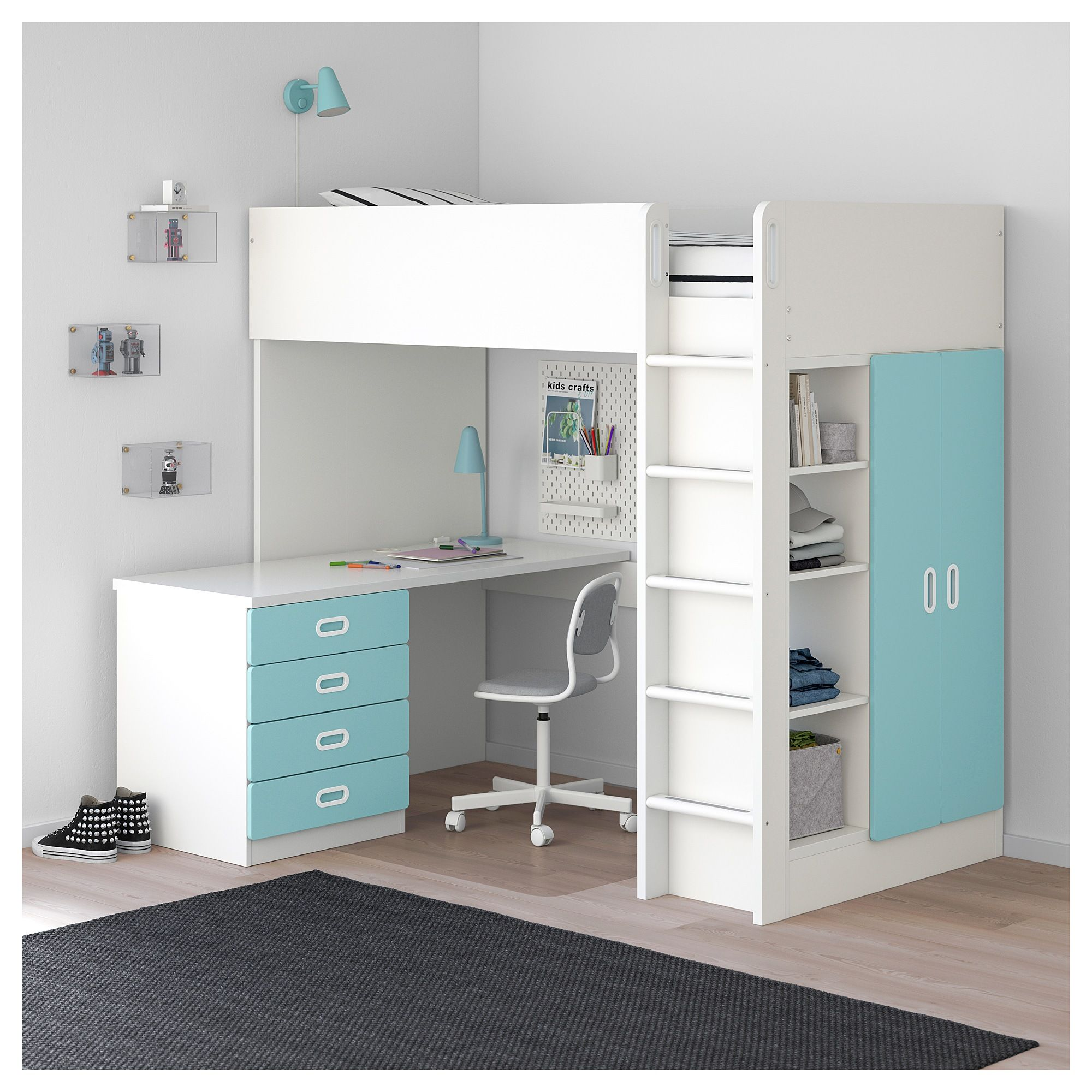 Stuva Fritids Loft Bed With 4 Drawers 2 Doors White Light Blue Ikea Loft Bed Frame Girls Loft Bed Loft Beds For Teens