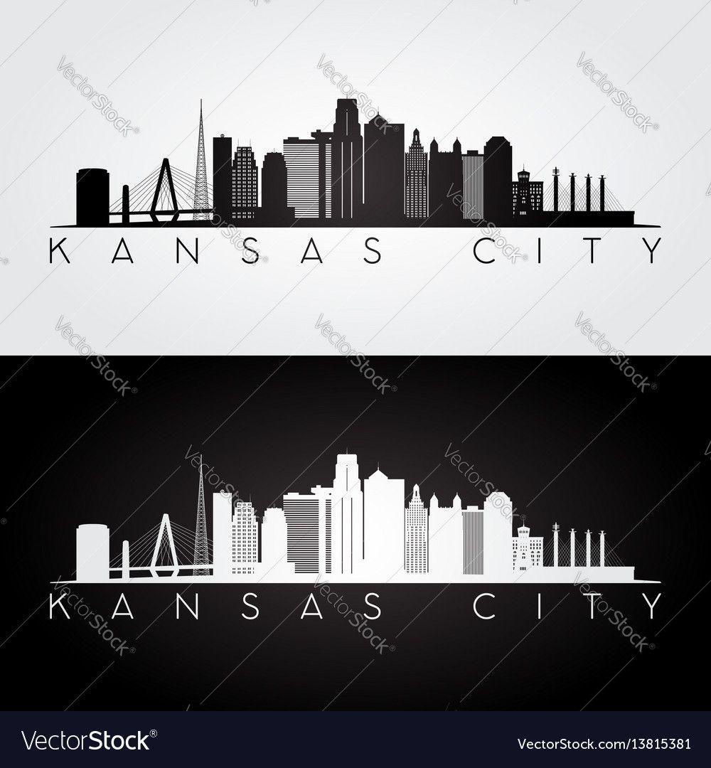 Kansas city usa skyline and landmarks silhouette vector