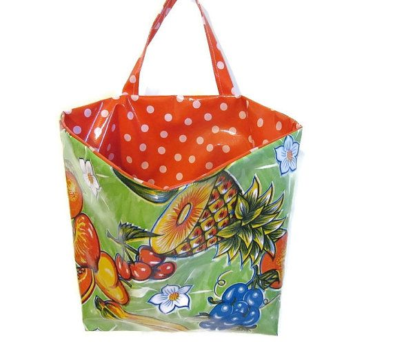 Storage Utility Oilcloth Bags For The Home Apartment Car School Office Kitchen In Vintage Green Fruit Print