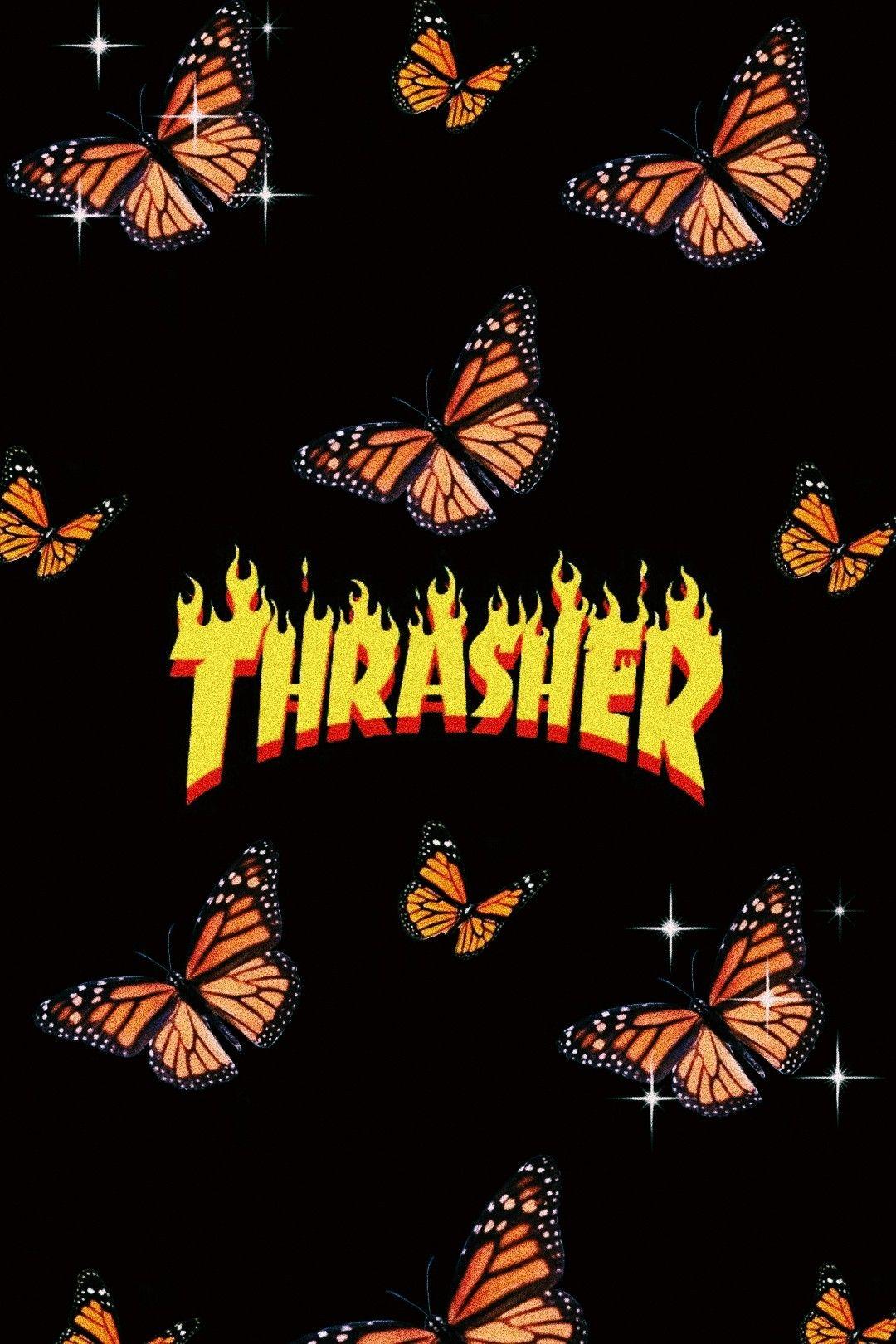 Aesthetic Thrasher Orange Butterfly Wallpaper Butterfly Wallpaper Iphone Butterfly Wallpaper Iphone Wallpaper Tumblr Aesthetic