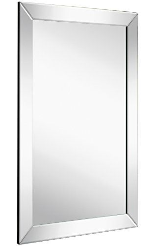 Large Flat Framed Wall Mirror with 2 Inch Edge Beveled Mirror Frame ...