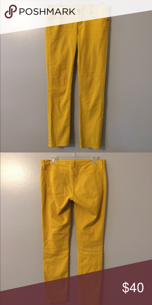 J crew mustard toothpick jeans FLASH SALE! Today only. J crew mustard  toothpick skinny jeans. Size 28 ankle pants. J. Crew Jeans Ankle   Cropped 7f692c3e6
