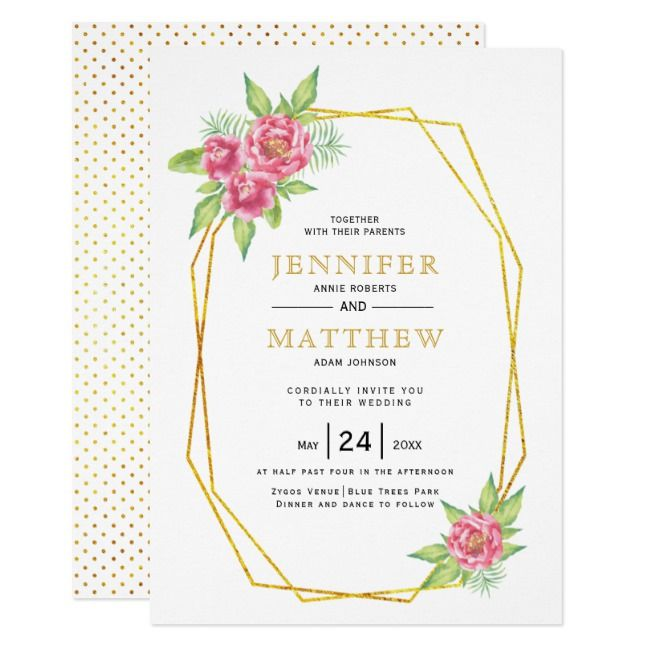 Gold polygon and pink peonies floral wedding invitation