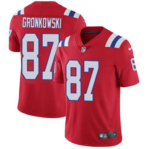 buy popular bf458 14478 Nike Patriots #87 Rob Gronkowski Red Alternate Men's ...