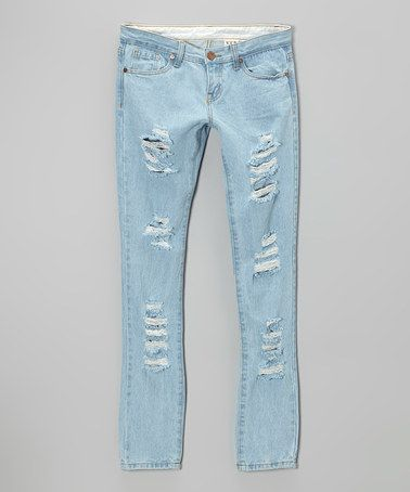 Look at this #zulilyfind! Light Blue Distressed Skinny Jeans #zulilyfinds