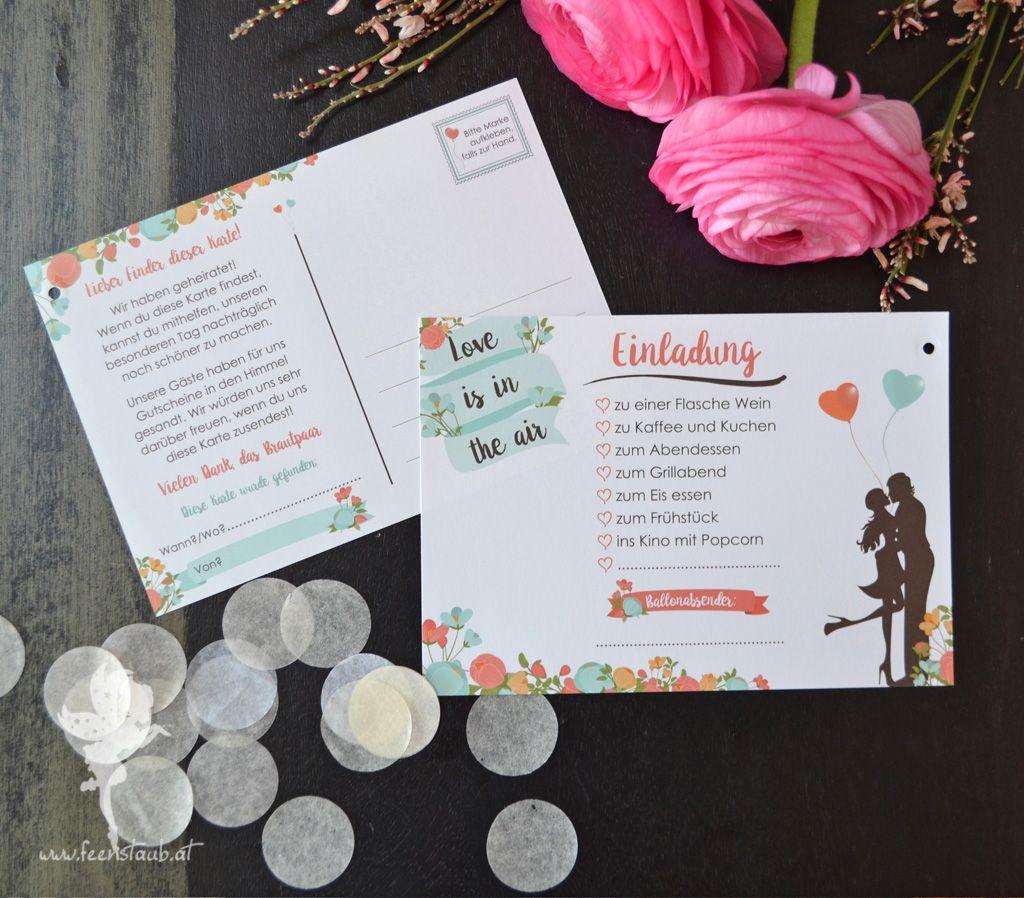 Ballonflugkarten Hochzeit Luftballonkarten in 2019