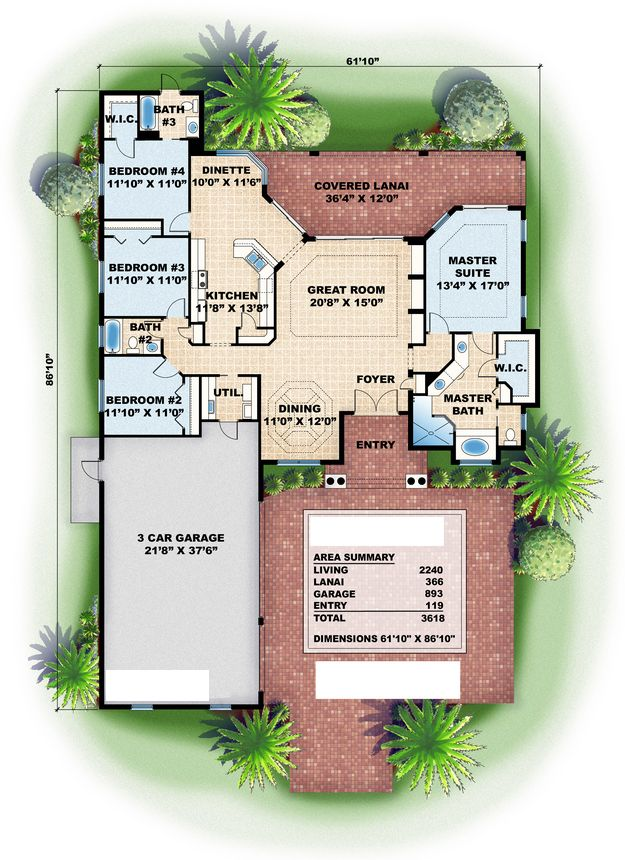 House Plan 575 00007 Ranch Plan 2 240 Square Feet 4 Bedrooms 3 Bathrooms Mediterranean Style House Plans Pool House Plans How To Plan