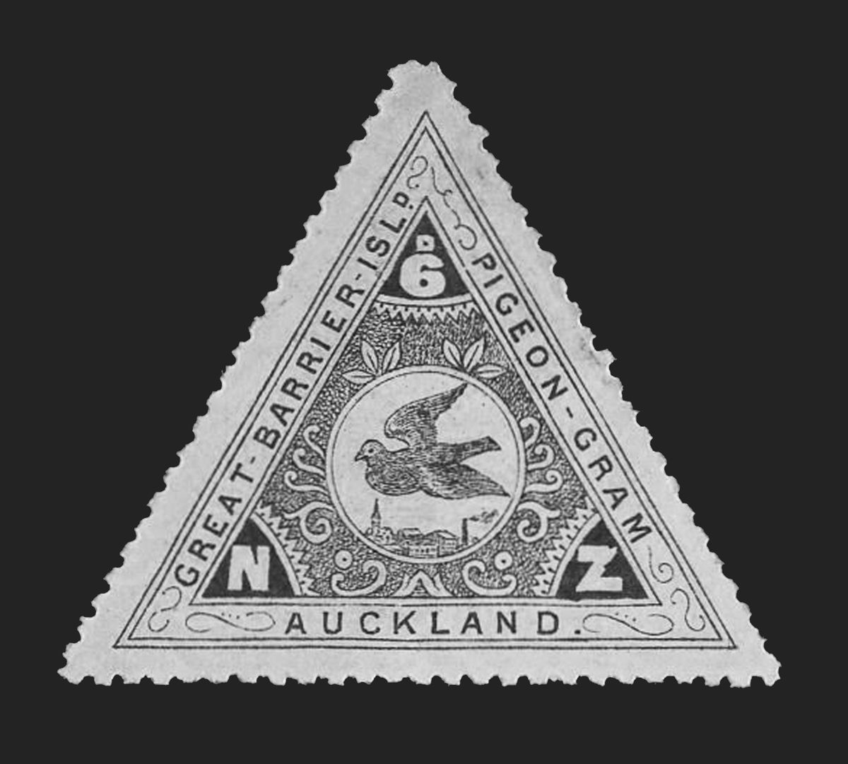 Stamp for early Pigeon-Gram service on Great Barrier Island (New Zealand).