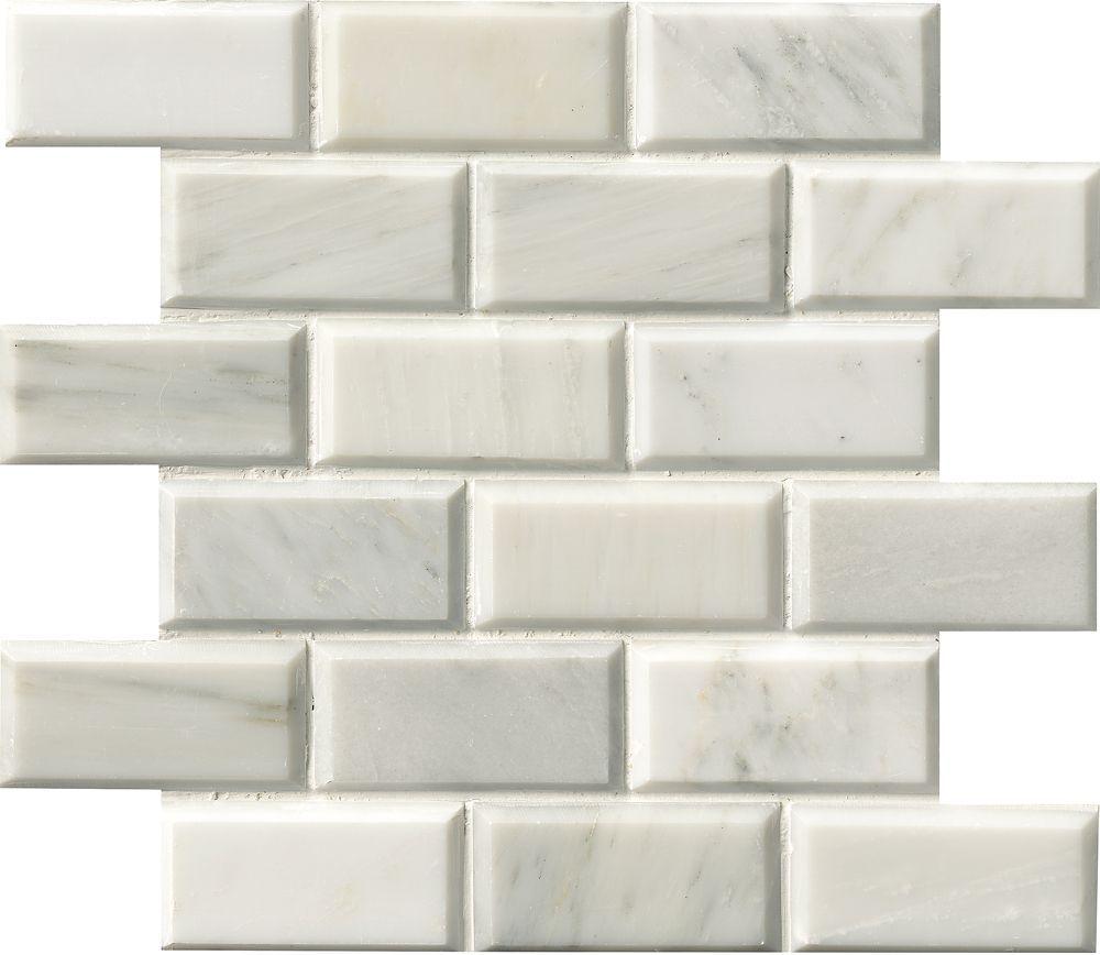 greecian white 12inchx12inch polished beveled marble