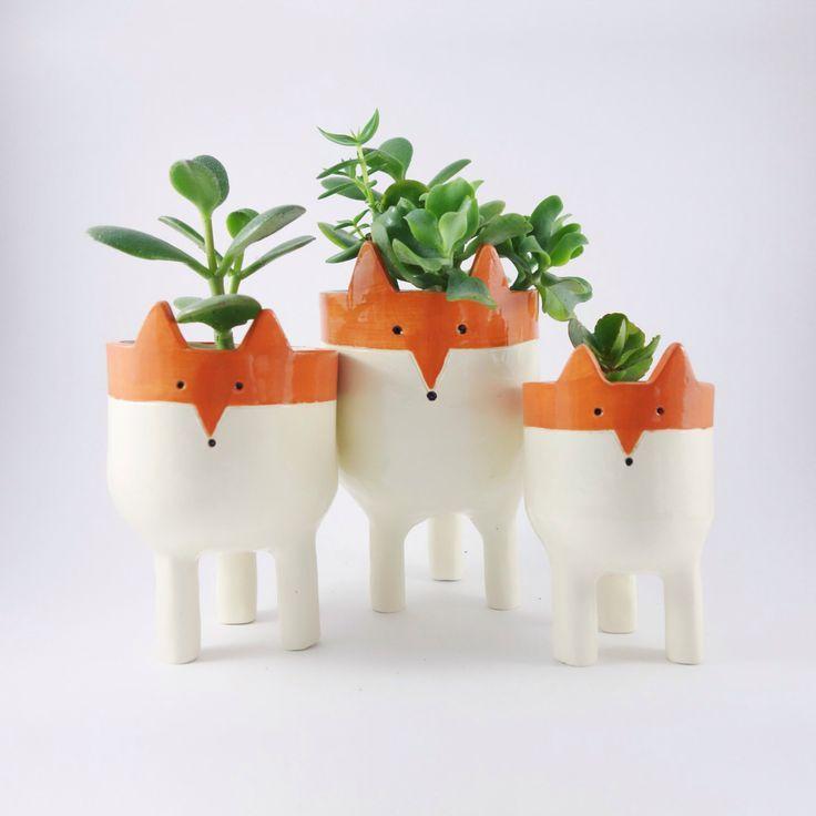 Fox Planters. Ceramic Flower ...