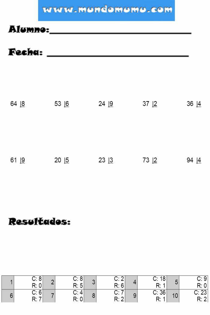 divisiones por dos cifras hoja 1 | Cosas que ponerse | Pinterest ...