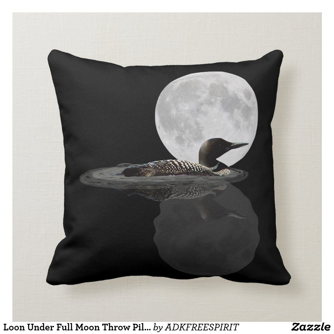 Loon Under Full Moon Throw Pillow | Zazzle.com #fullmoonquotes