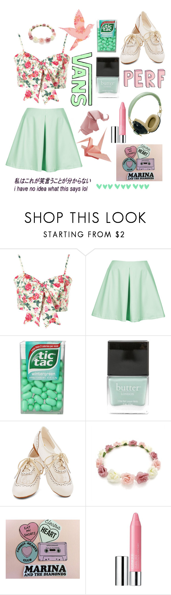 """Bow croptop green and pink"" by ginaisanerd ❤ liked on Polyvore featuring Oh My Love, Unis, American Eagle Outfitters, Butter London, Pull&Bear and Clinique"