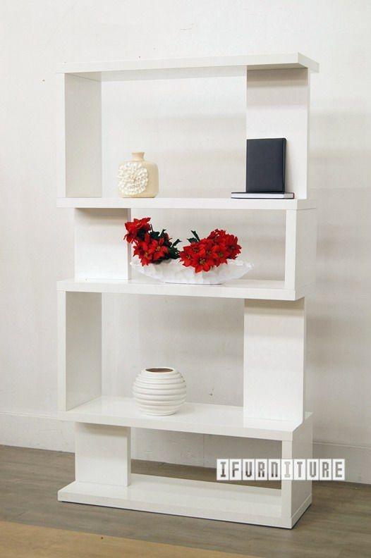 LONGITUDE BookShelf Room Divider Hi Gloss White Shelf Cabinet NZs Largest