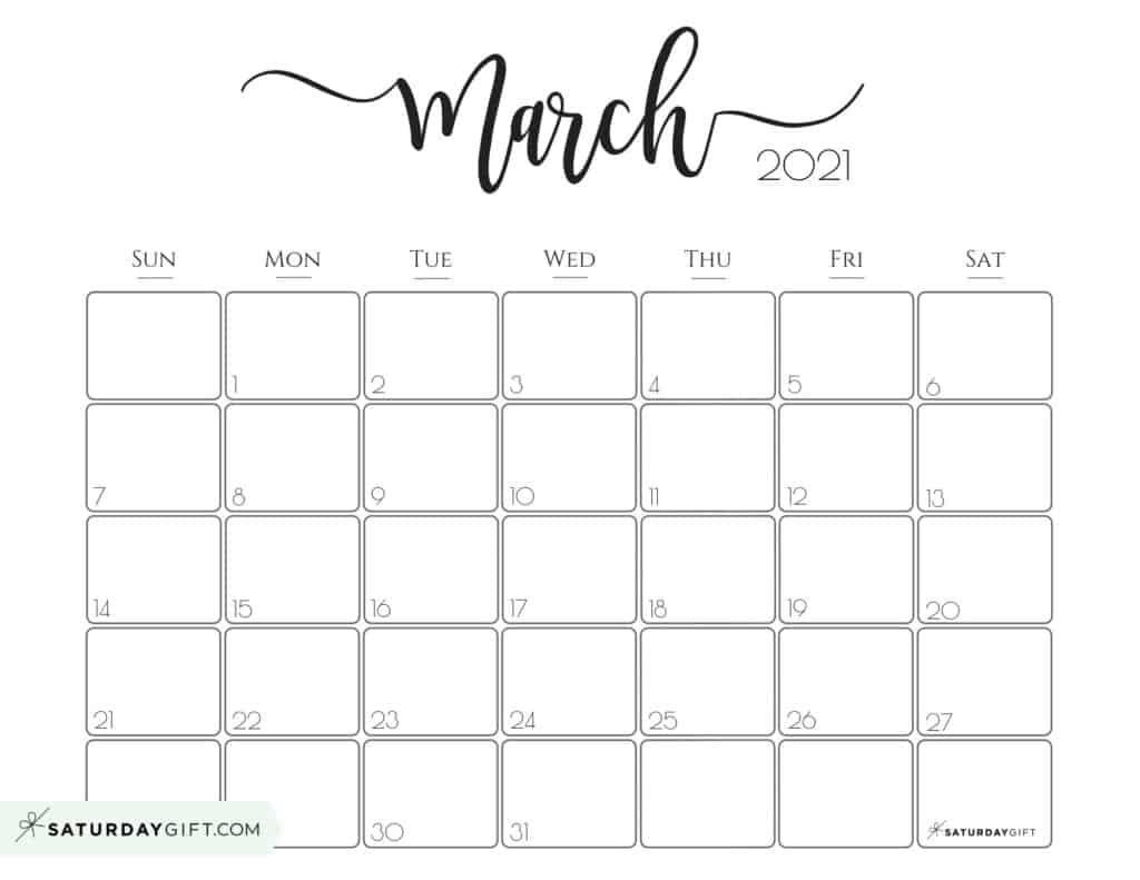 Elegant 2021 Calendar by SaturdayGift   Pretty Printable Monthly