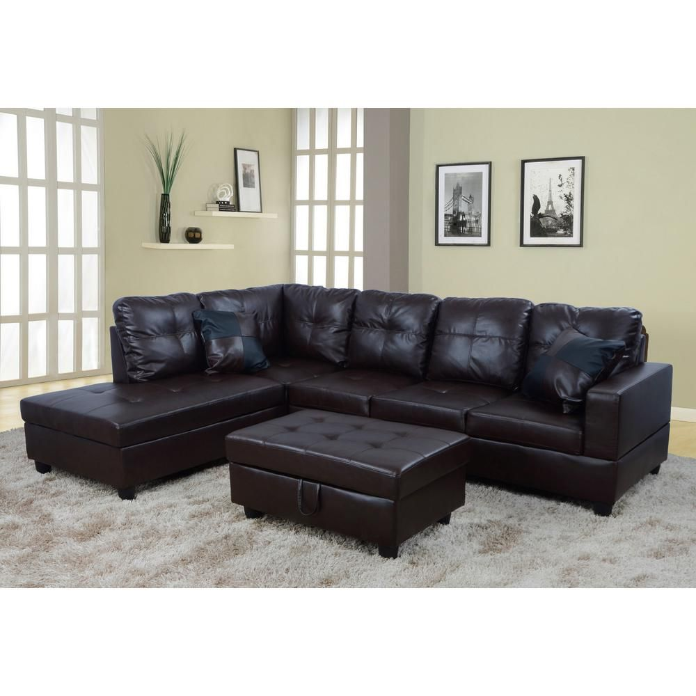 Brown Faux Leather Left Chaise Sectional With Storage Ottoman