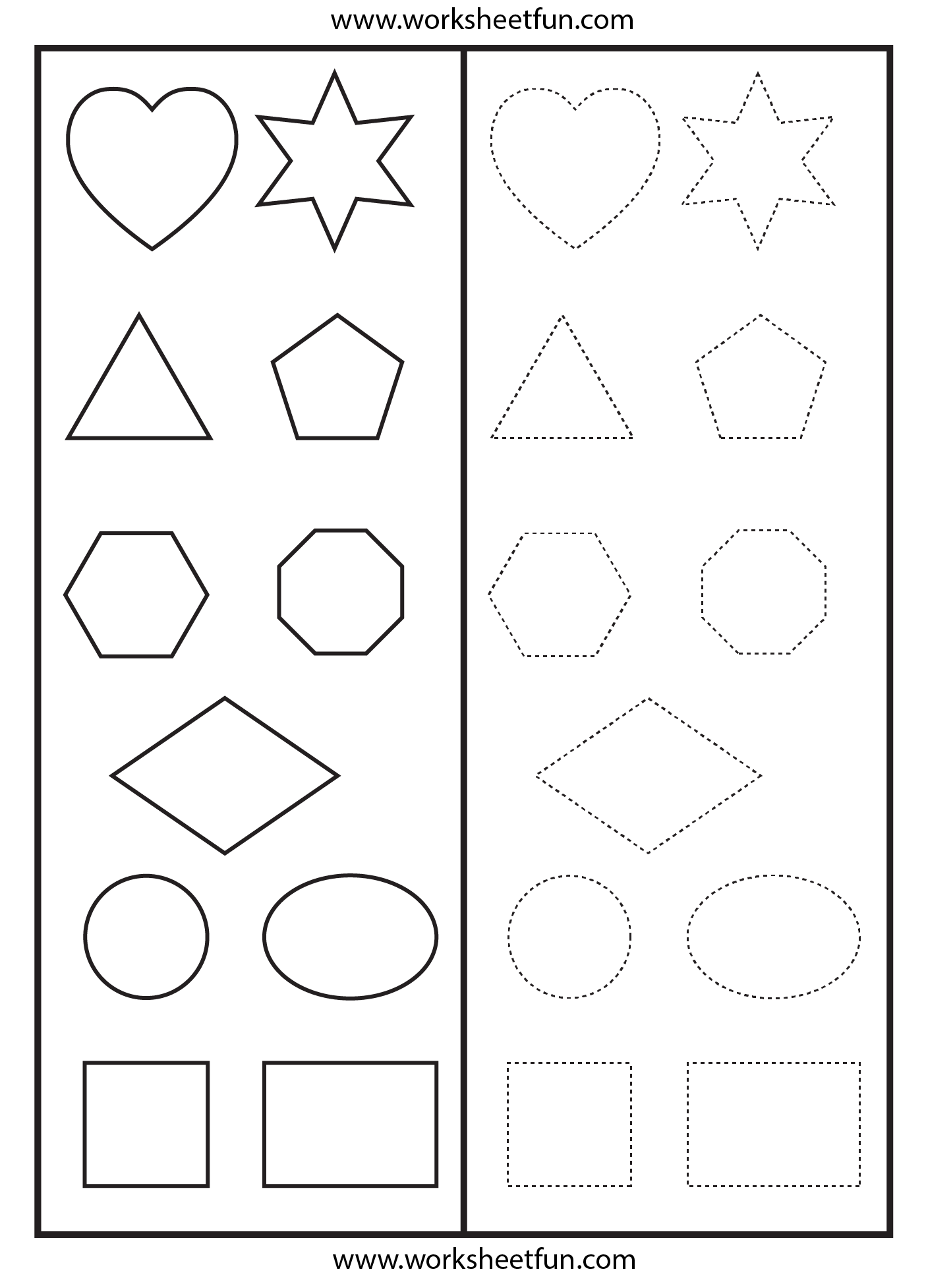 shapes tracing worksheet printable worksheets pinterest
