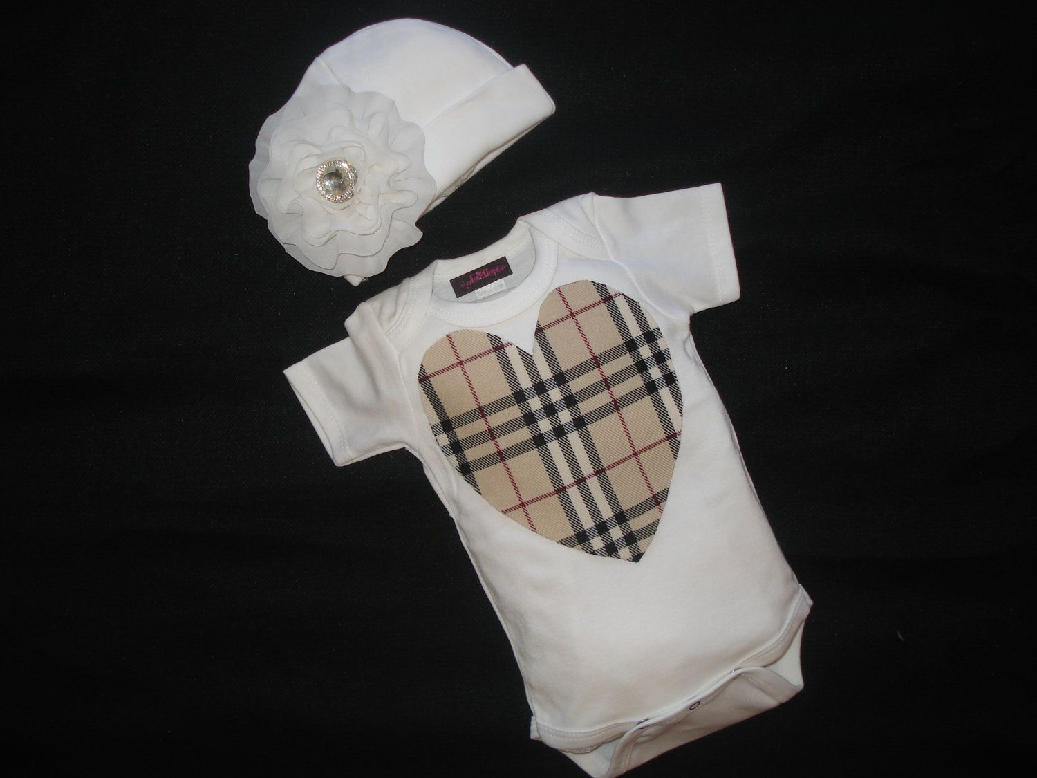 Baby Girl Burberry Inspired Onesie Short Sleeve By Jacqueline225