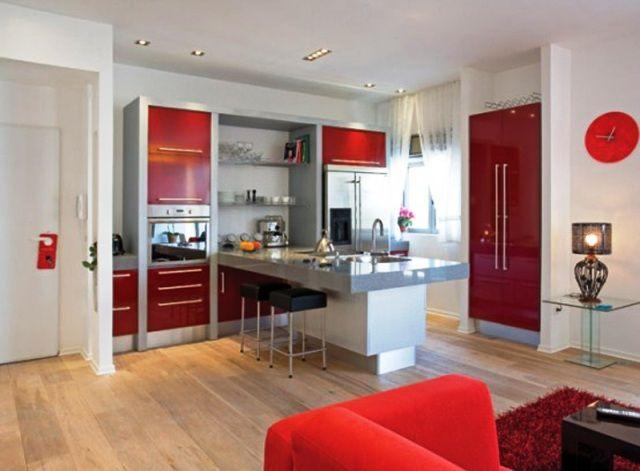 Kitchen Designs, The Exuberant Red Furniture With Soft Brown Floor Fantastic Minimalist Design Apartment Decorating Ideas: Special Corner To Cook With Apartment Kitchen Decorating Ideas