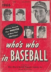 Who S Who In Baseball Magazine 1966 Koufax Mays Etc Cover Baseball Sports Books Sports Magazine