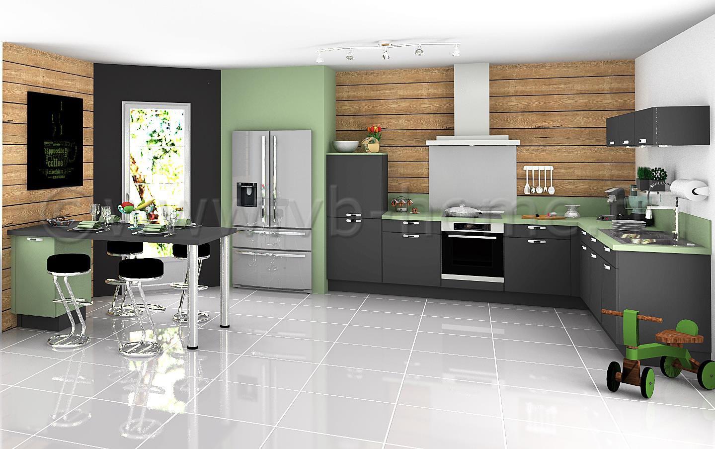Grande cuisine ouverte moderne avec fa ades gris vert - Cuisine vert gris ...