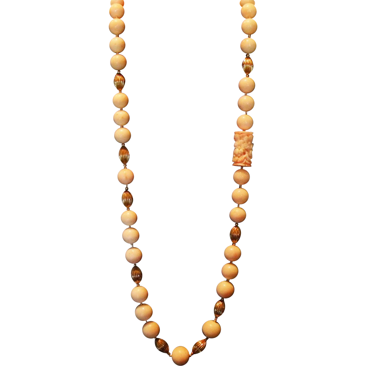 (Sale!) Museum Quality Enormous 15mm (+) Angel Skin Coral 30 inch from therecklessnecklace on Ruby Lane