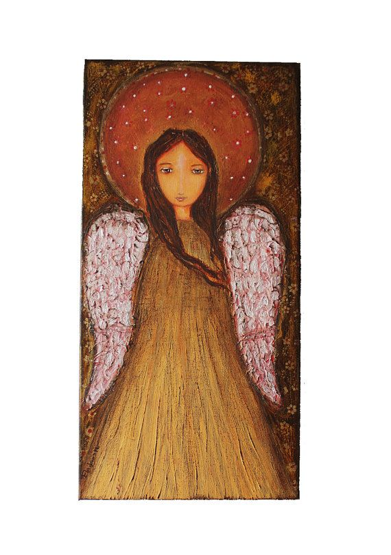 Angel Dorado - Original Mixed Media Painting Collage on Canvas Folk art by FLOR LARIOS  (10 x 20 Inches)