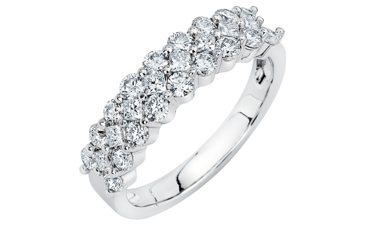 Three Layer Prong Set Diamond Wedding Ring In 14k White Gold 1 24 Ctw Diamond Wedding Rings Wedding Rings Wedding Rings Unique