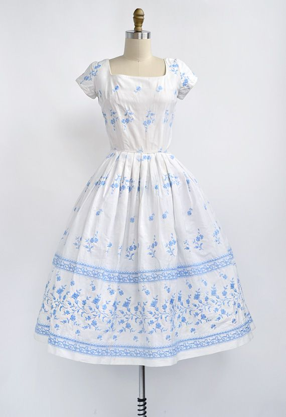 great variety models buy online cozy fresh vintage 1950s embroidered white blue floral summer dress ...