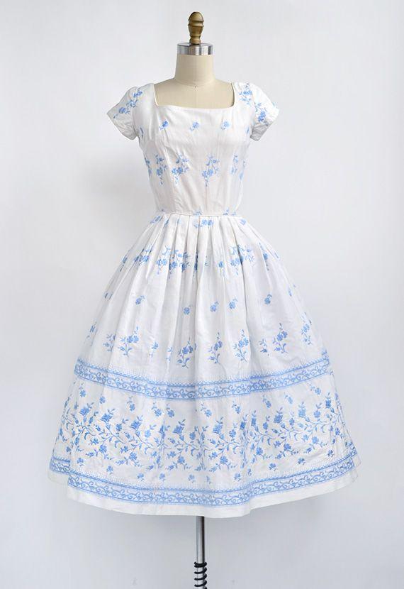 Vintage 1950s embroidered white blue floral summer dress ...