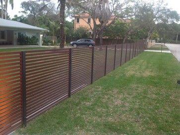 Full Slatted Enclosure Contemporary Fencing Miami