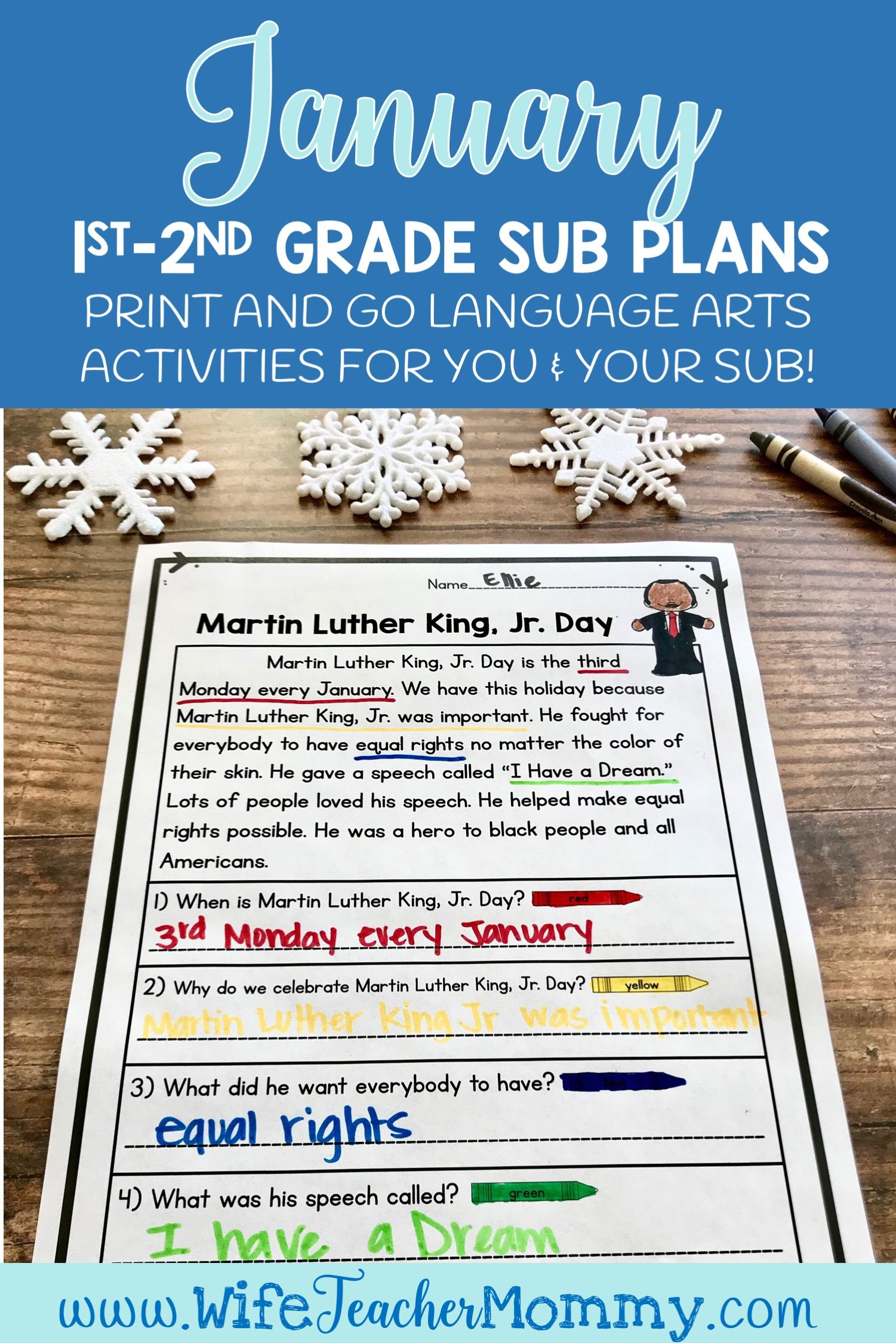 January Sub Plans Ela For 1st And 2nd Grade Winter