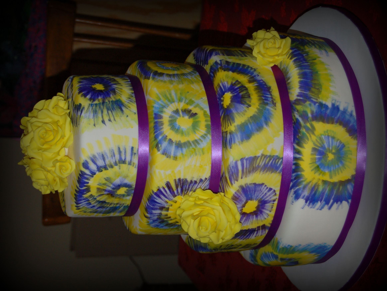 Tie dye baby shower cakes tie dye wedding cake decorating