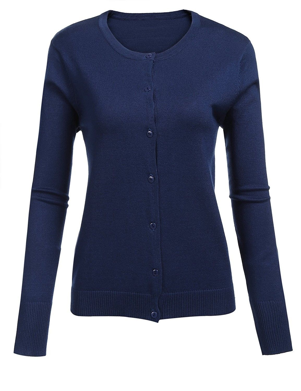 edb880517 Women Button Down Long Sleeve Crewneck Soft Knit Short Cardigan Sweater -  Navy Blue - CZ1887XK608,Women's Clothing, Sweaters, Cardigans #women  #fashion ...